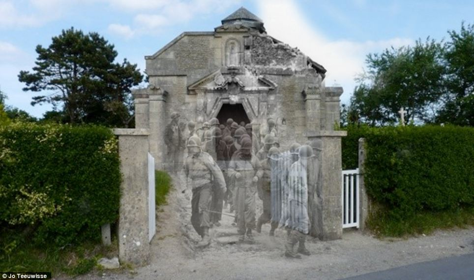 Dramatic past: Men in uniform file out of La Madeleine à Sainte Marie du Mont, in Manche, close to the beaches of Normandy where the D-Day invasion took place