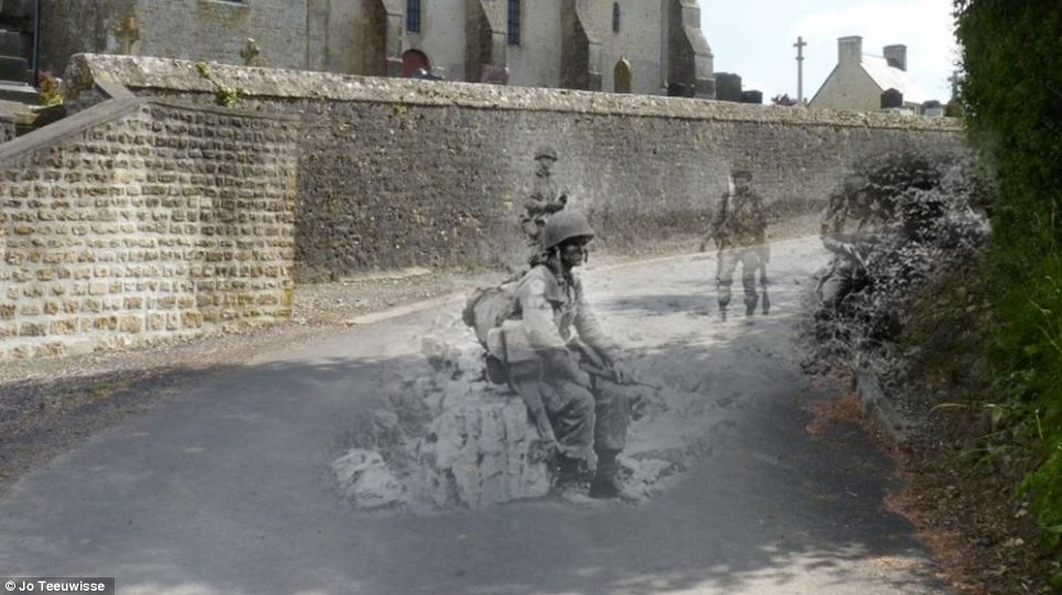 Echoes of history: The tarmacked road of Saint Marcouf, Manche, was once piled high with debris