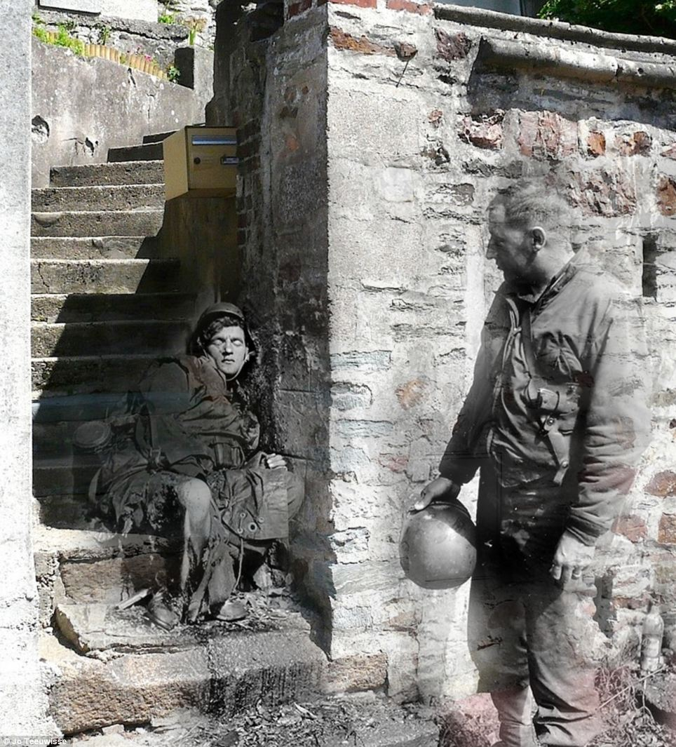 Vivid reality: The past and the present collide as touches of colour appear on this emotive shot on rue Armand Levéel in the French city of Cherbourg