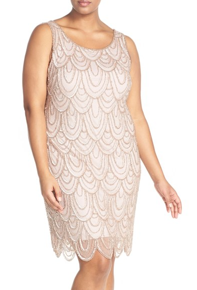 This dainty champagne scalloped dress — $168