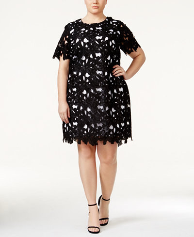 This modern and casual black-and-white overlay dress — $139.99